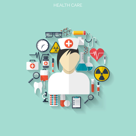 chemical engineering: Flat health care and medical research background. Healthcare system concept. Medicine and chemical engineering.  First aid and diagnostic equipment.