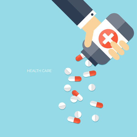 Flat health care and medical research background. Healthcare system concept. Medicine and chemical engineering.  First aid and diagnostic equipment.