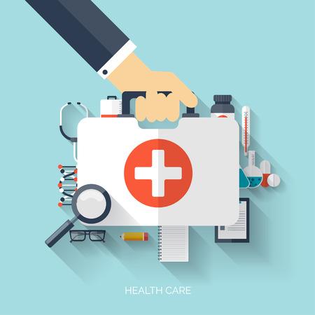平らな健康管理や医療研究の背景。ヘルスケア ・ システムのコンセプトです。医学化学工学 最初の援助と診断装置。  イラスト・ベクター素材