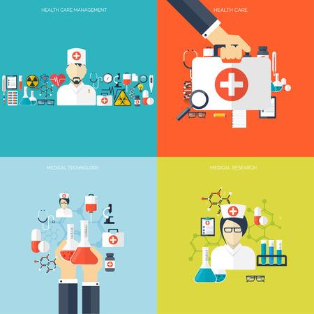 フラット ヘルスケアと医療研究の背景。医療システムの概念。医学と化学工学。 最初の援助と診断機器。  イラスト・ベクター素材
