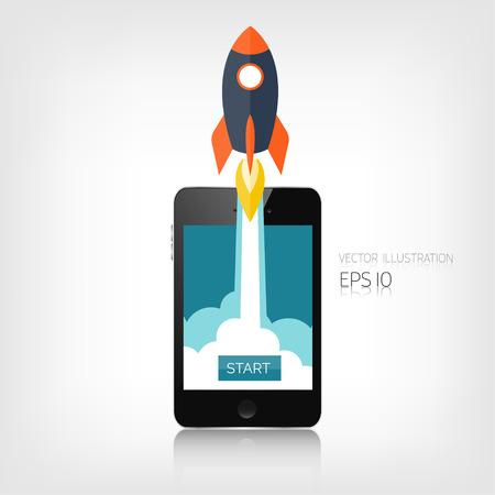 cohetes: Icono cohete plana. Concepto de inicio. Desarrollo del proyecto. Smartphone realista. Vectores