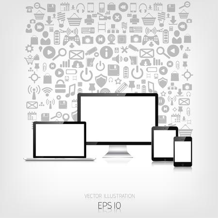 adaptive: Responsive web design. Adaptive user interface. Digital devises. Laptop, tablet, monitor, smartphone. Web site template concept. Application web icons. Illustration