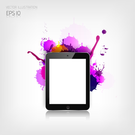 Realistic detalized flat tablet with abstract splaches. Vector