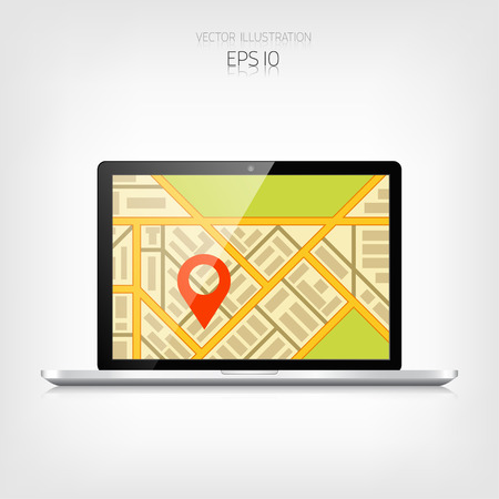 adaptive: Navigation background with laptop and map.Responsive web design. Adaptive user interface.