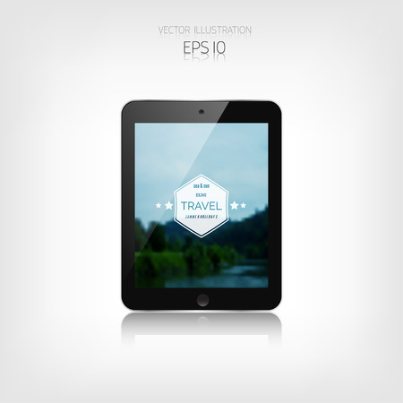 web site: Responsive hipster travel web design. Adaptive user interface. Tablet. Web site template concept. Illustration