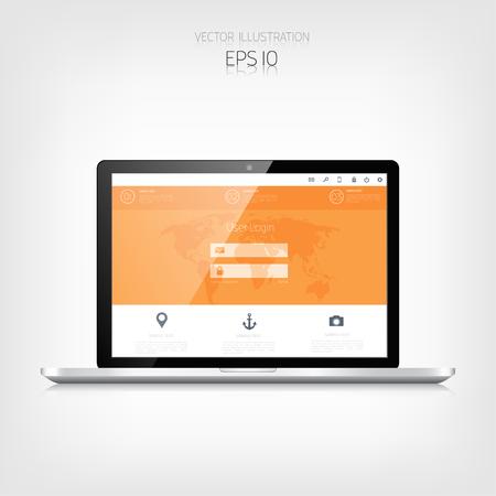 adaptive: Responsive web design. Adaptive user interface. Digital devises. Laptop. Web site template concept.
