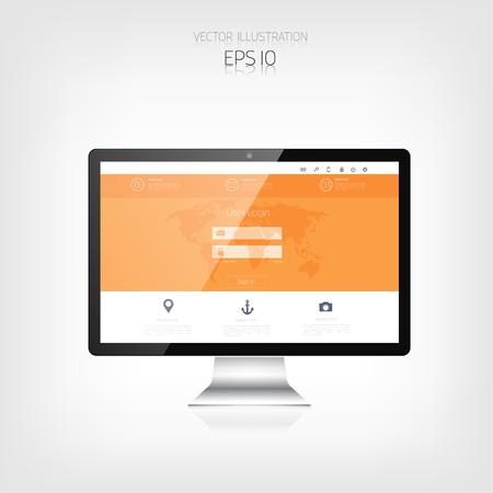 responsive web design: Responsive web design. Adaptive user interface. Digital devises. Monitor. Web site template concept.