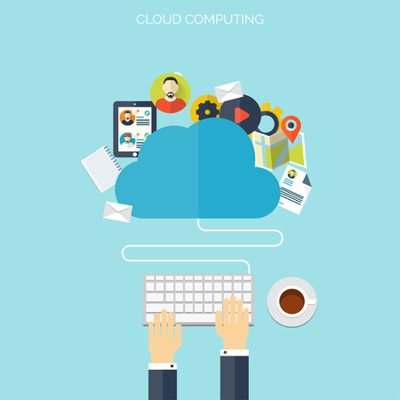 content: Flat cloud computing background. Data storage network technology. Multimedia content and web sites hosting.