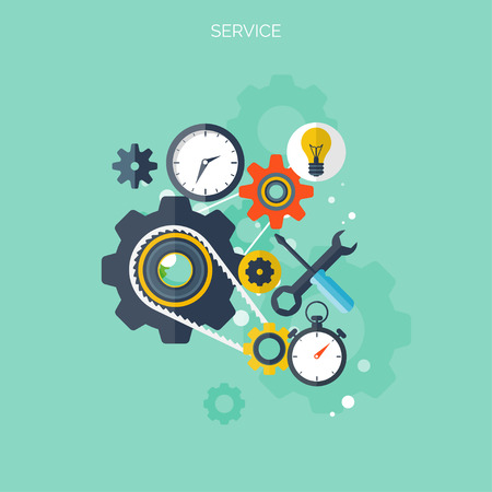 change concept: Flat supportservice background. Mechanic service concept.  Web site creating. Illustration