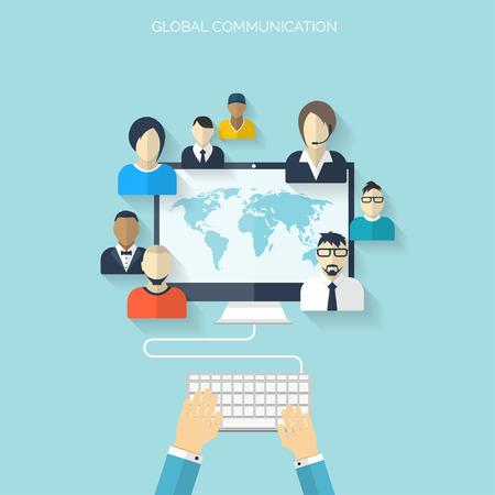 Piso medios sociales y el concepto de red. Fondo de negocio, la comunicación global. Web avatares perfil sitio. Conexión entre la gente. Mapa Foro.