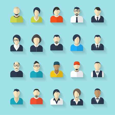 Flat avatar icons. Business concept, global communication. Web site user profile.  Social media, network elements. 일러스트