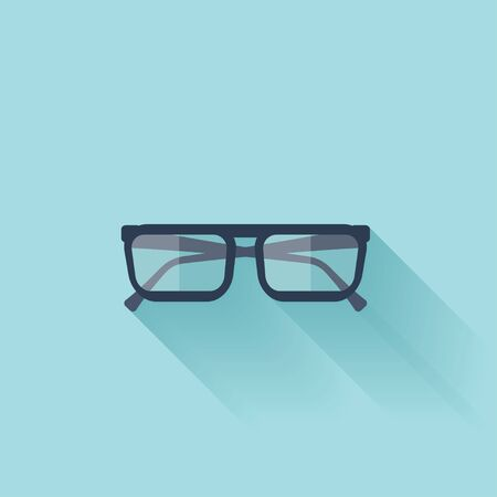 Flat glasses icon with shadow. Vector