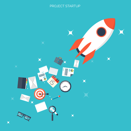 Platte raket pictogram. Startup concept. Projectontwikkeling.