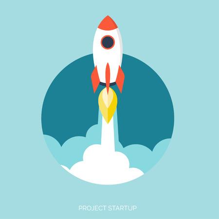 mosca caricatura: Icono cohete plana. Concepto de inicio. El desarrollo del proyecto.