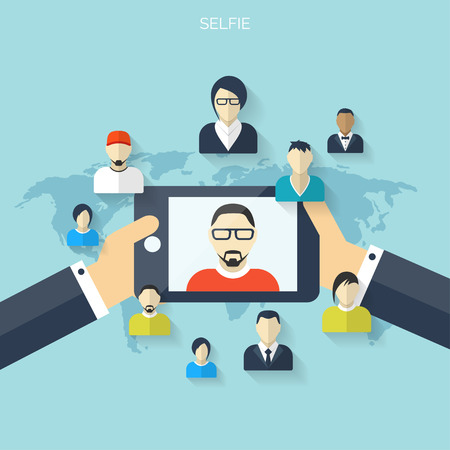 communication concept: Flat selfie background. Social media and communication concept. Illustration