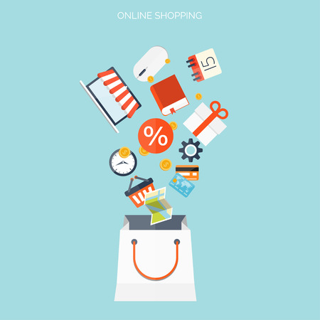 e shopping: Internet shopping concept. E-commerce. Online store. Web money and payments. Pay per click. Illustration