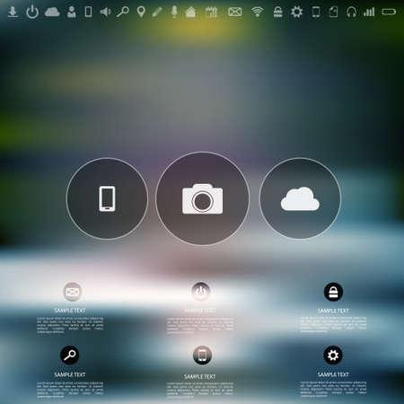 media background: Defocused  abstract texture background with web icons. Cloud Computing.Ui elements. Web site template.