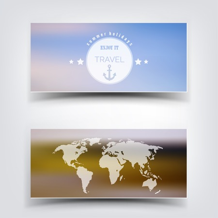 eart: Blurred landscape background card. Travel concept with eart map. Mobile or web ui element. Web site header.