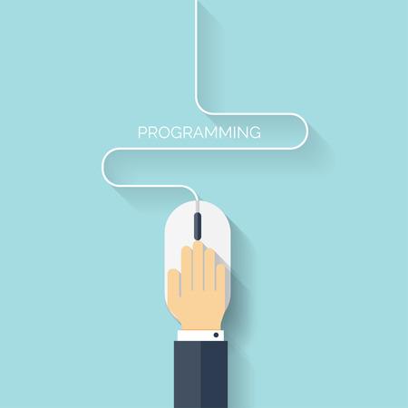 Flat computer mouse icon. Programming concept background. Coding. Ilustração