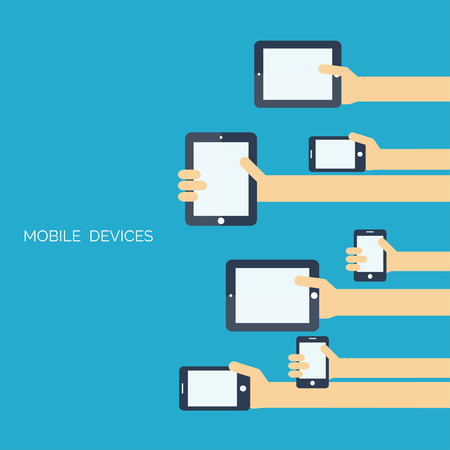Tablet and smartphone in human hands.Global communication concept.Chatting. Vector