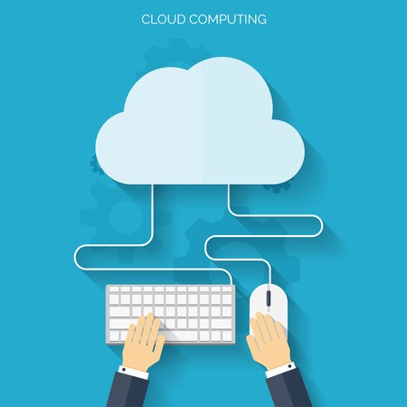 cloud background: Flat cloud computing background. Data storage network technology. Multimedia content and web sites hosting.