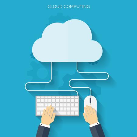 Wohnung Cloud-Computing-Hintergrund. Datenspeicherung Netzwerktechnik. Multimedia-Inhalte und Web-Seiten Hosting. Standard-Bild - 38097808