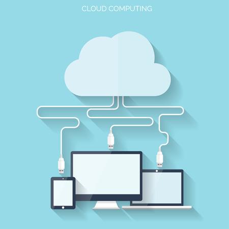 Wohnung Cloud-Computing-Hintergrund. Datenspeicherung Netzwerktechnik. Multimedia-Inhalte und Web-Seiten Hosting. Standard-Bild - 38099193