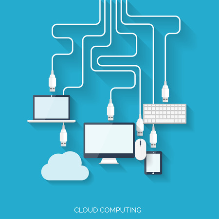 Flat cloud computing background. Data storage network technology. Multimedia content and web sites hosting. Vector