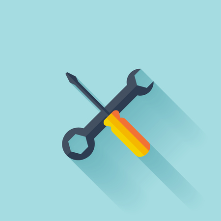 Repair flat icon with shadow. Vector