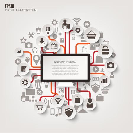 tecnología informatica: Árbol Icono. Fondo abstracto plana con iconos de web. Símbolos de la interfaz. La computación en nube. Concepto devices.Business móvil.