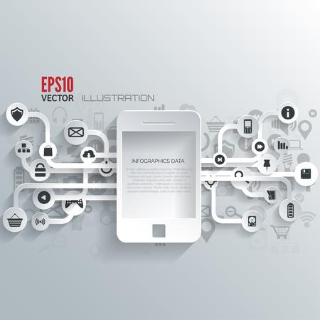 Cloud-Computing-Hintergrund mit Web-Symbole. Soziales Netzwerk. Mobile App. Infografik-Elemente. Standard-Bild - 38094907