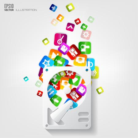 Application button.Social media.Cloud computing. Vector