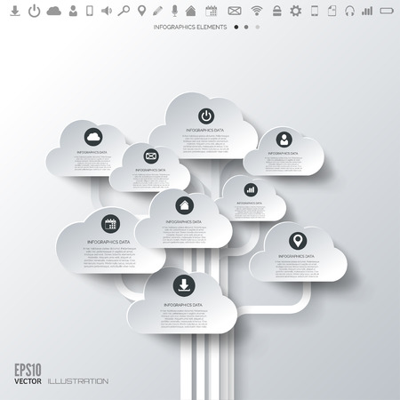 Cloud icon. Flat abstract background with web icons. Interface symbols. Cloud computing. Mobile devices.Business concept. Ilustração