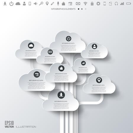 Cloud-Symbol. Wohnung abstrakten Hintergrund mit Web-Symbole. Interface-Symbole. Cloud Computing. Mobile devices.Business Konzept. Standard-Bild - 38082777