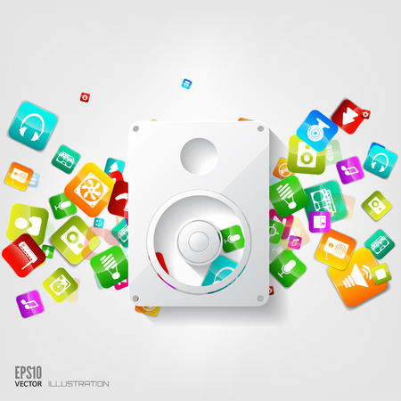 music loudspeaker: Music loudspeaker, subwoofer icon. Application button.Social media.Cloud computing.