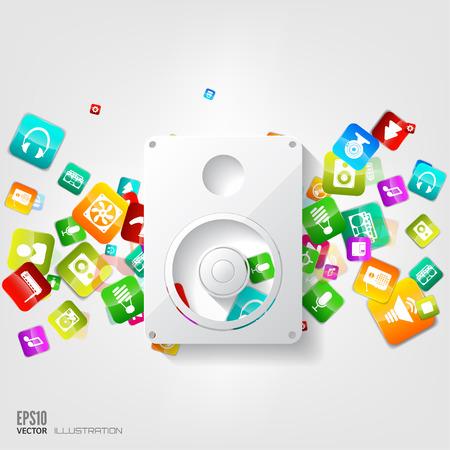 subwoofer: Music loudspeaker, subwoofer icon. Application button.Social media.Cloud computing.