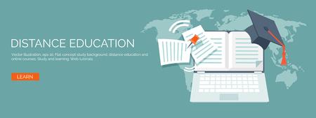 Vector illustratie. Platte kop. Onderwijs op afstand en leren. Online cursussen en web school. Kennis en informatie. Studie proces. E-learning.