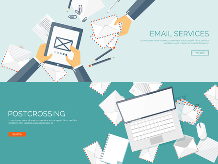 email: Vector illustration. Flat background with envelope. Emailing concept background. Spam and sms writing.Lettering. New message.
