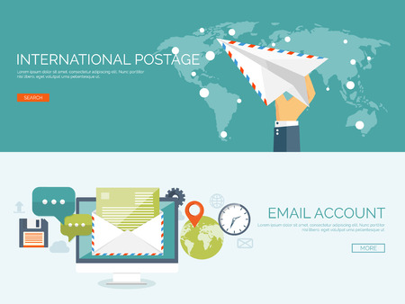 newsletters: Vector illustration. Flat background with envelope. Emailing concept background. Spam and sms writing.Lettering. New message.