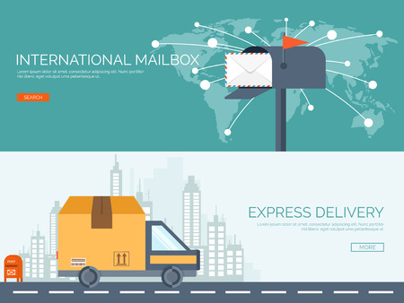 Vector illustration. Flat background with envelope. Emailing concept background. Spam and sms writing.Lettering. New message. Delivery and packaging. Vettoriali