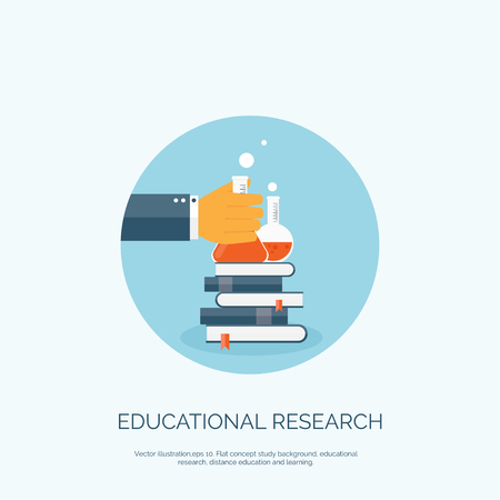 educational research: Flat vector illustration with books and flask. Study and learning concept background. Educational research.