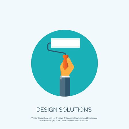 Vector illustration, flat concept background for design with hand and brush. Designers solutions. Illustration