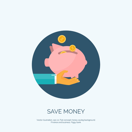 time account: Vector illustration. Flat saving money concept background. Piggy bank and coins.