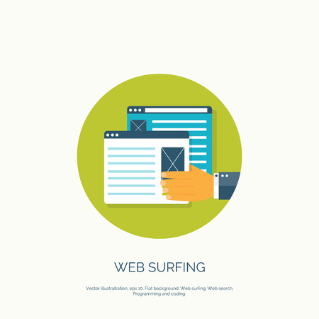 web surfing: Vector illustration. Flat web surfing background with hand and laptop.