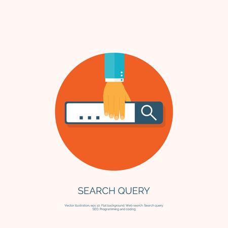 seo: Flat loupe icon. SEO. Search engine optimization. Data finding. Content analyzing.