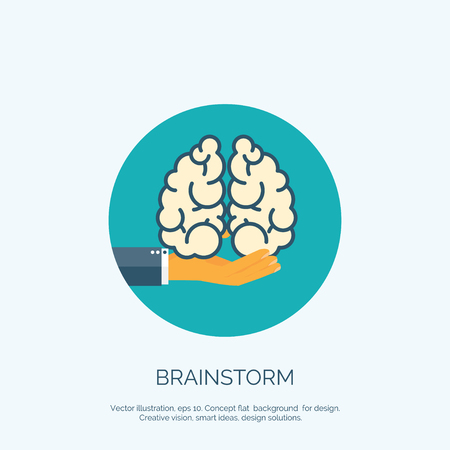 gyrus: Vector illustration. Flat background with hand and brains. Brainstorm, teamwork. Creative vision.