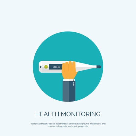 diagnostic: Vector illustration. Flat background with hand and  medical thermometer. First aid and diagnostic. Illustration