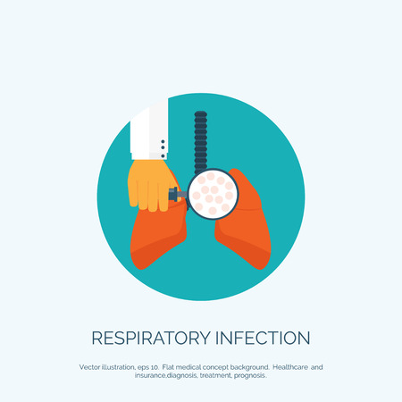 bronchial: Vector illustration. Flat background with hand and lung. First aid, respiratory therapy. Illustration