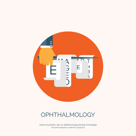 ophthalmology: Vector illustration. Flat background with hand and eye test. Ophthalmology. Illustration