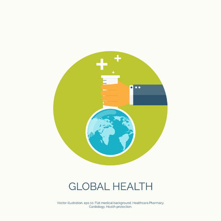 global health: Vector illustration. Flat background with hand and flask. Globe. Global health concept background.
